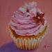 roze-cupcake in olieverf (VERKOCHT)