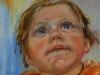 Tandjes krijgen Joris 8-maanden, olieverf linnen op paneel 14 x 14 cm