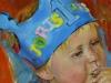 Olieverf portret linnen op paneel 14 x 14 cm van Baby Joris, 12 maanden , applaus-voor-joris,