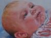 olieverf 14 x 14 cm, baby Luuk