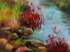Olieverf Rode struiken bij beekje te koop