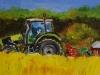 Olieverf tractor-in-koolzaadveld