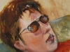man-met-zonnebril, olieverf H20 op canvas, maat 40 x 30 cm