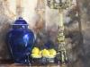 Blauwe-Chinese-vaas-klassiek-stilleven 60x60 cm 3D doek te koop (VERKOCHT)