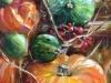 Herfst stilleven met pompoenen, maat 15 x 10 cm op mus paneel