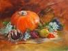 Olieverf Pompoen en herfst fruit, maat 40 x 50 x 3 cm