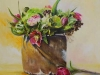 Olieverf Boeket helleborus-en-tulpen (Verkocht)