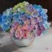 Olieverf hortensia-roze-blauw (Verkocht)