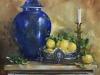 olieverf Blauwe vaas met citroenen 60x60x3 cm te koop