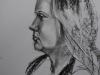 Portret Eva houtskool op papier