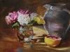 Olieverf schilderij rozen-in-glazen-vaasje