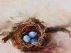 Olieverf 14 x 14 cm vogelnest (Verkocht)