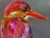 """Olieverf """"Kingfisher"""" op paneel, maat 10 x 10 cm (Verkocht)"""