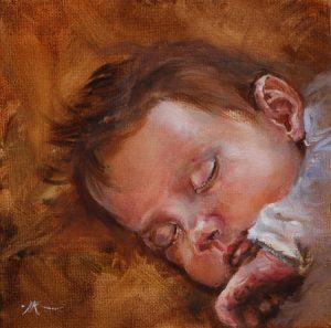 olieverf schilderij in opdracht van een baby - Joke Klootwijk