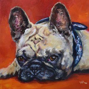 schilderijen in opdracht met verwerkte as van overleden hond - Joke Klootwijk